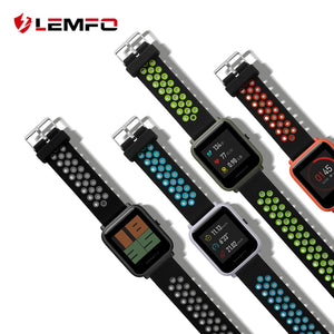 LEMFO Smart Accessories For Xiaomi Amazfit Bip Smart Watch 20mm Youth Sport Smartwatch Wrist Band Strap Silicone Double Color