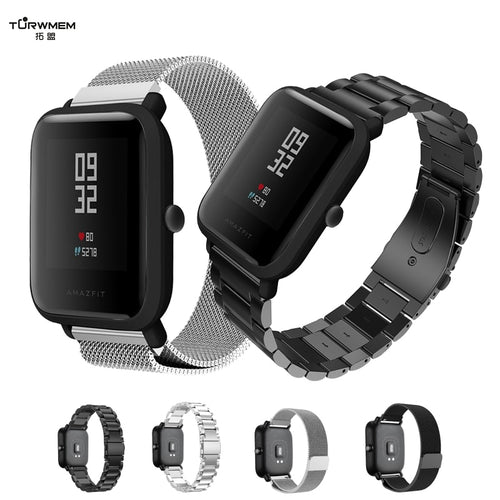 20mm Bracelet for Xiaomi Huami Amazfit Youth Smart Watch Metal Stainless Steel Strap Steel Belt Strap for Amazfit Bip Wrist Band