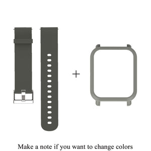 Mijobs 20mm Silicone Wrist Strap Protective Case Cover Plastic PC Shell for Huami  Xiaomi Amazfit Bip BIT PACE Lite Smart Watch