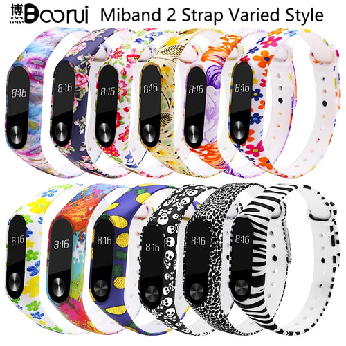 BOORUI Miband 2 Accessories  mi band 2 strap colored Special Silicone Strap belt for Xiaomi Mi Band 2 Smart Bracelets Smartband