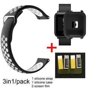 3in1 Smartwatch Band for Xiaomi Huami Amazfit bip Youth Smart Watch Silicone Wristband Double Color Replacement Strap+Film Case