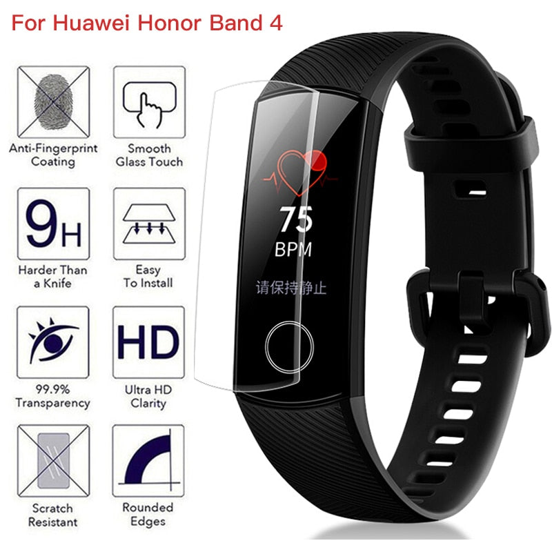 Anti-shock 9D Soft TPU HD Ultra Clear Protective Film For Huawei Honor Band 4 Band4 Smart Wristband Full Screen Protector Cover