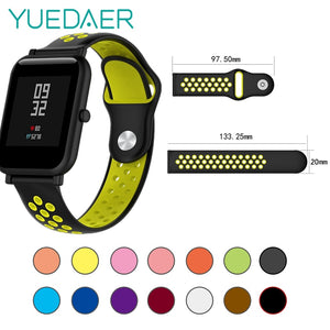 YUEDAER Double Color Silicon Replacement Watchband For Xiaomi Huami Amazfit Bip Strap 20MM Wristband Soft TPU For Amazfit Bit