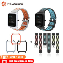 Mijobs 20mm Sports Silicone Strap Wrist Band PC Case Cover for Xiaomi Huami Amazfit Bip BIT PACE Lite Bracelet Correa Smartwatch