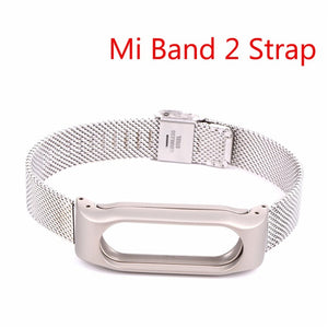 Hangrui Mi Band 3 Strap Bracelet for Xiaomi Mi Band 2 Strap Stainless Steel Metal Smart Wristband Replacement Smart Accessories