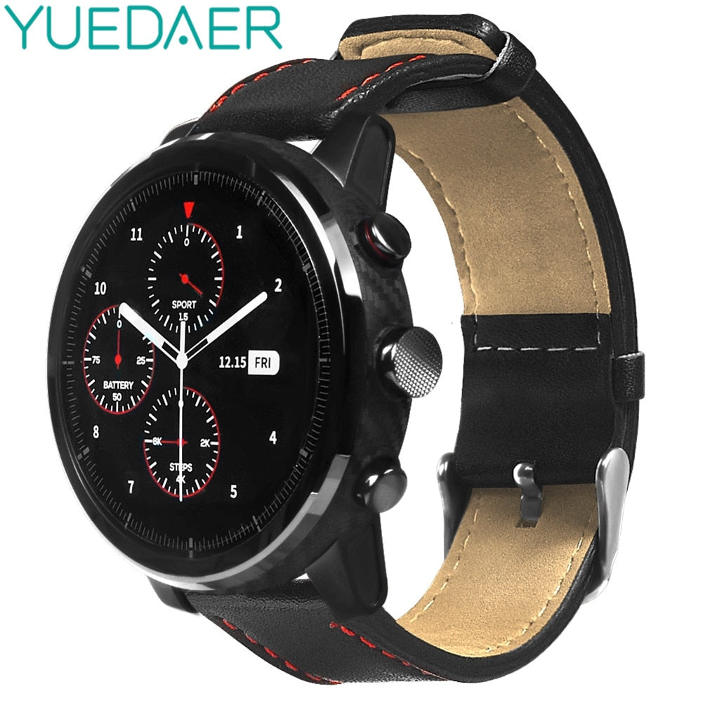YUEDAER 22MM Universal bands for Xiaomi AMAZFIT Pace Stratos 2 strap Genuine leather Strap for amazfit Stratos 2/2S bracelet