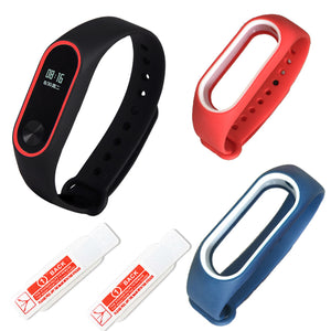 xiaomi mi band 2 strap bracelet Watch band color Two-tone with personality silicone strap anti-lost wristband wholesale