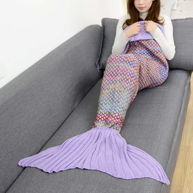 180x90cm Large Size mermaid blanket Handmade Crochet Sea Maid Tail 🧜🏼‍♀️