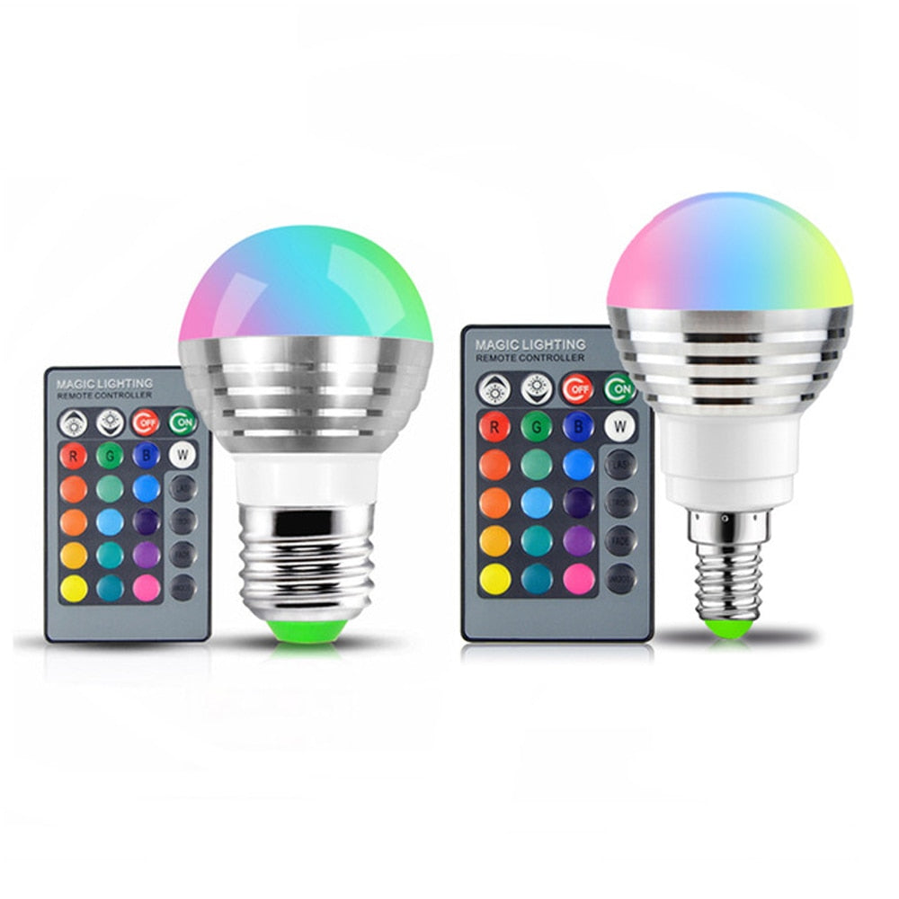 110V 220V 8LED bulb 16 Color Magic LED Night Light Lamp Dimmable Stage Light  / 24key Remote Control