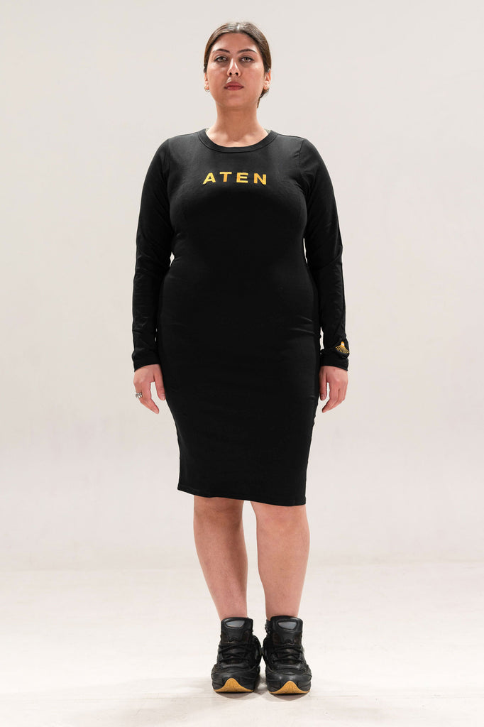 ATEN18 DRESS - GOLD TEXT