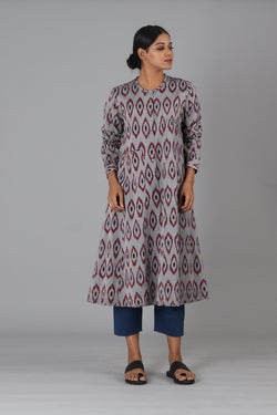 Maroon Diamond Button Down Kurta