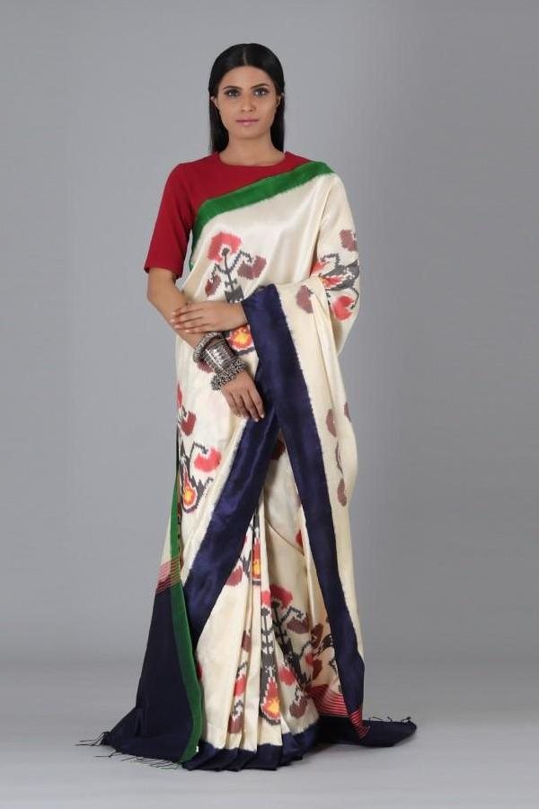 Off White Flower Uzbek Silk Saree
