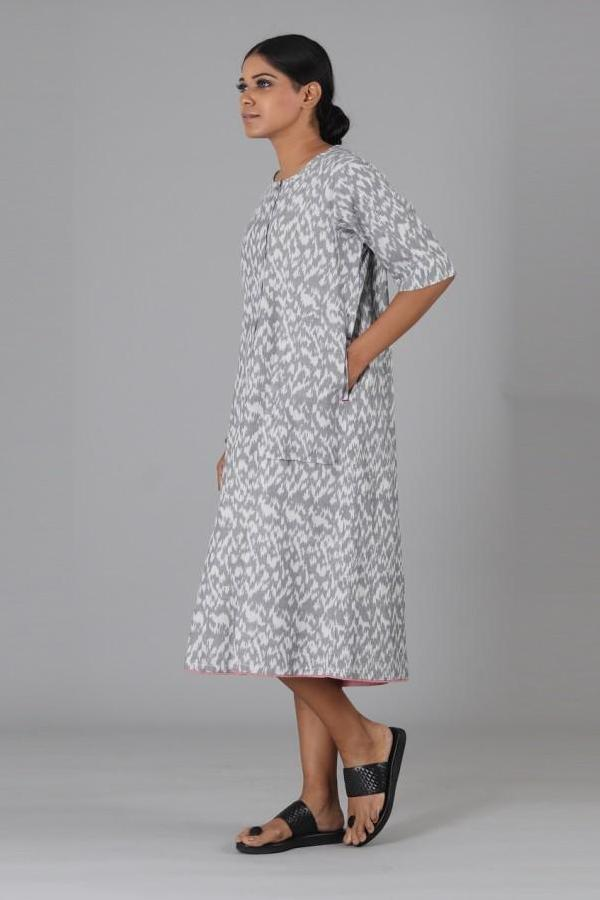 Grey All Over Ikat Dress