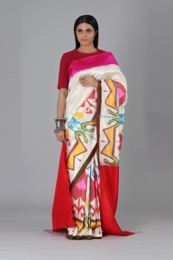 Off White Pink Heart Silk Saree