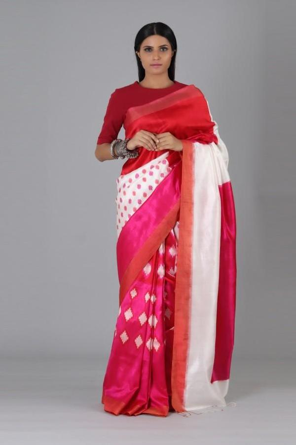 Red Pink Polka Silk Saree