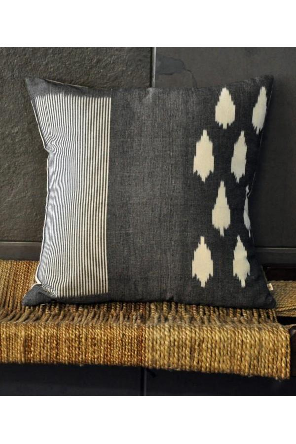 Grey White Leaf & Stripes Cushion Cover