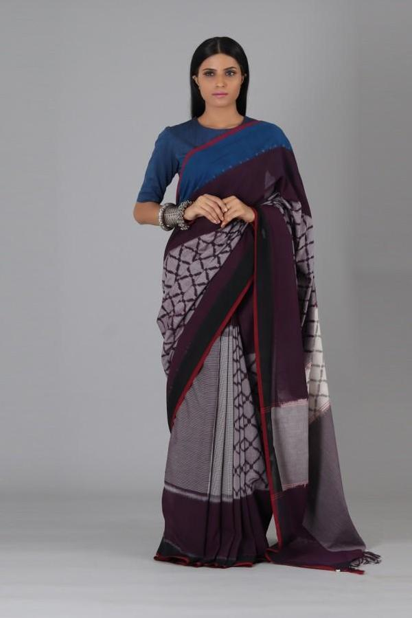 Plum Circle Cotton Saree