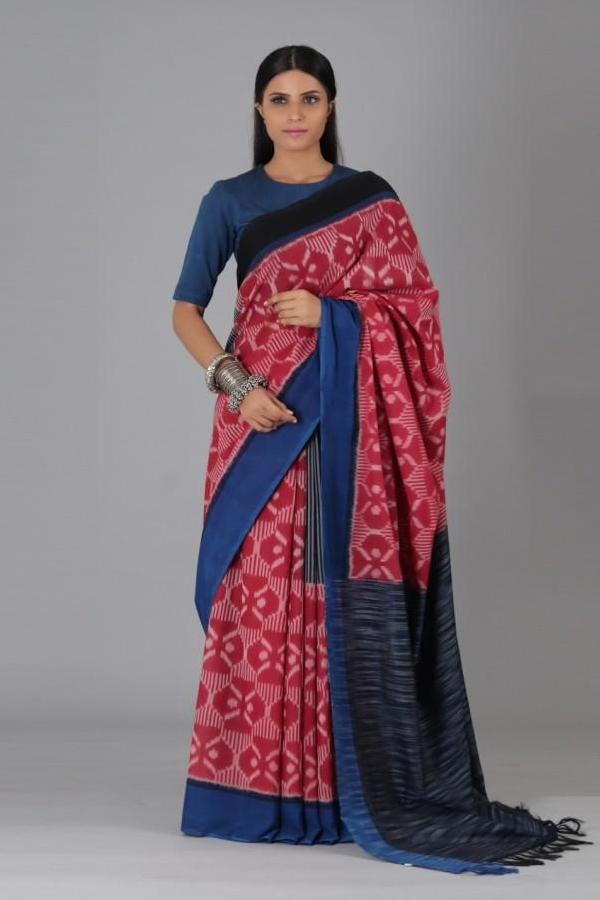Red Dahlia Cotton Saree