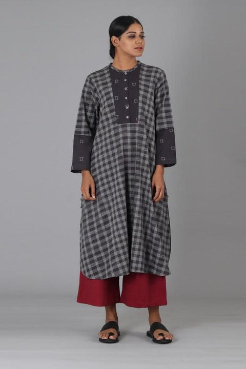 Charcoal Box Lines Long Kurta