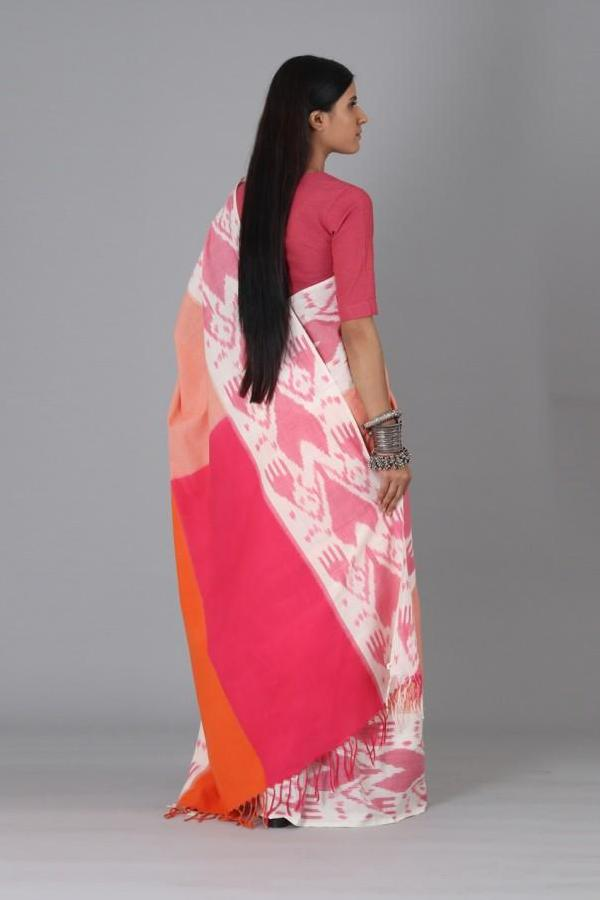 Pink Heart Cotton Saree