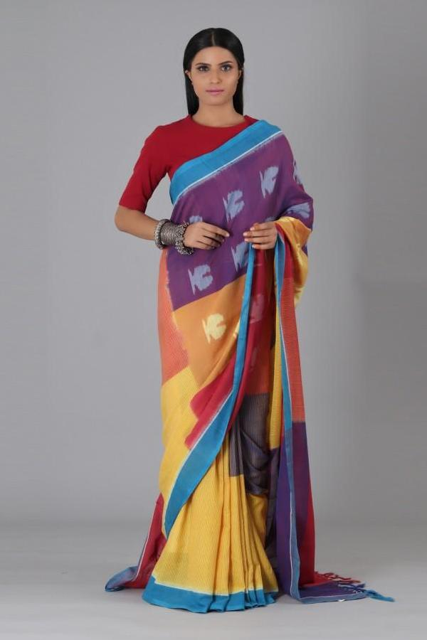 Multi Colour Fish Cotton Saree