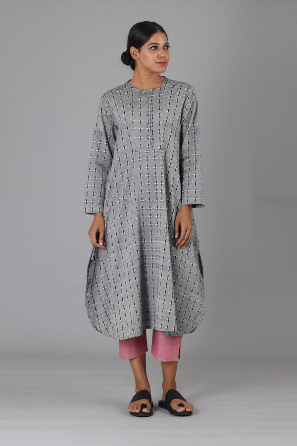 Grey Checks Long Kurta