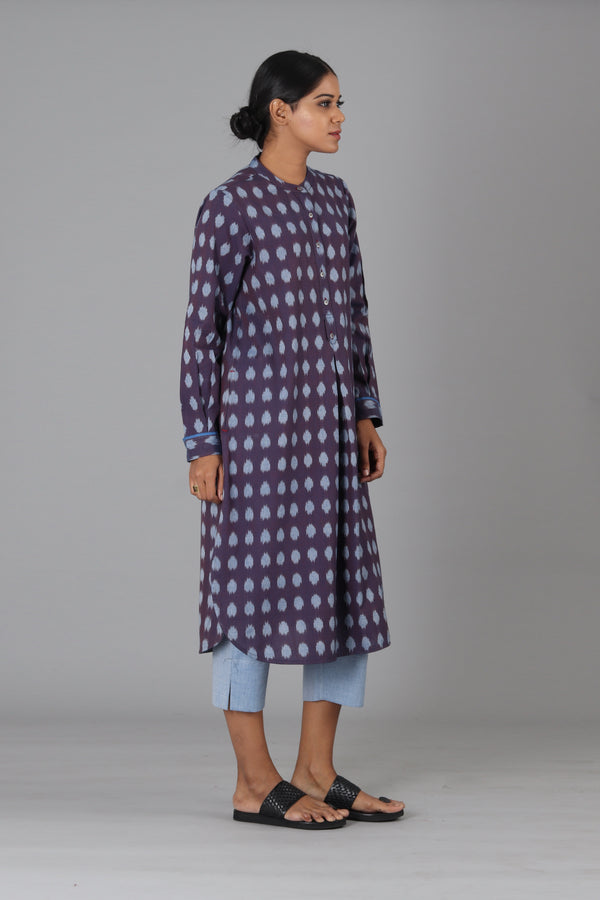 Indigo Polka Long Dress