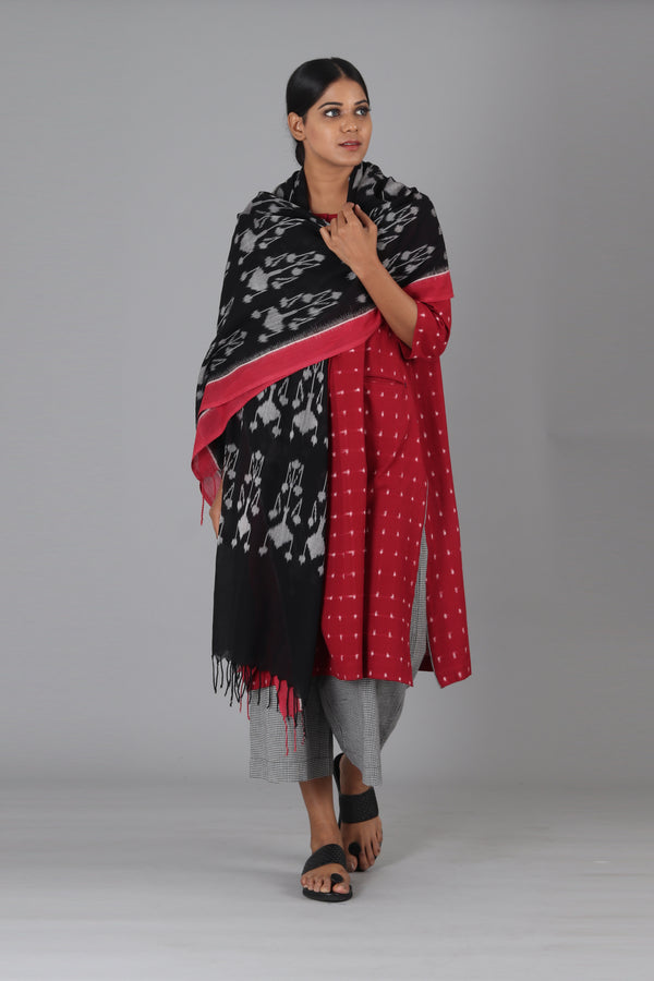 Black Flower Dupatta