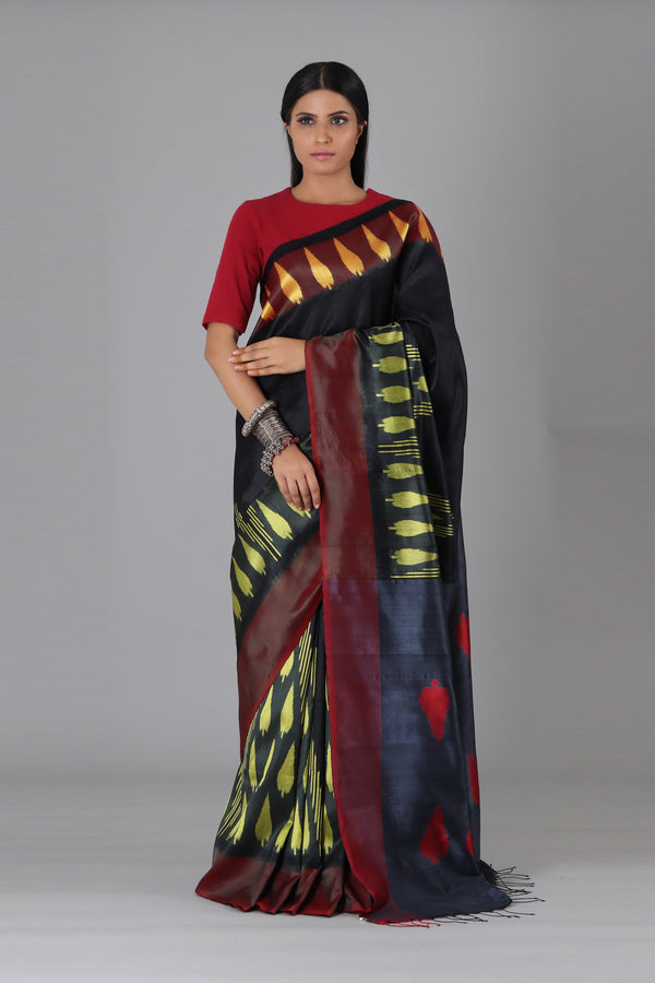 Black Leaf Silk Saree