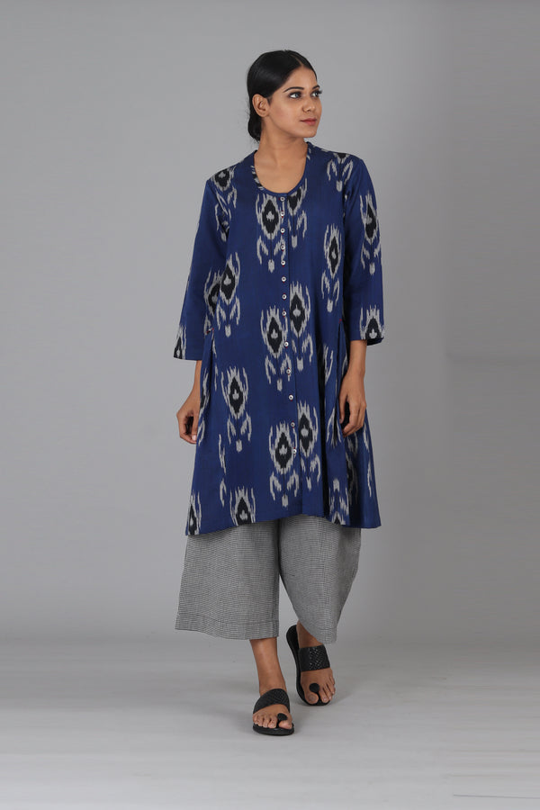 Blue Black Tulip Short Kurta