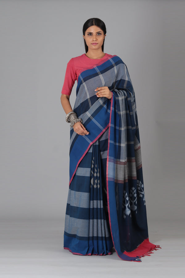 Blue Flower Cotton Saree