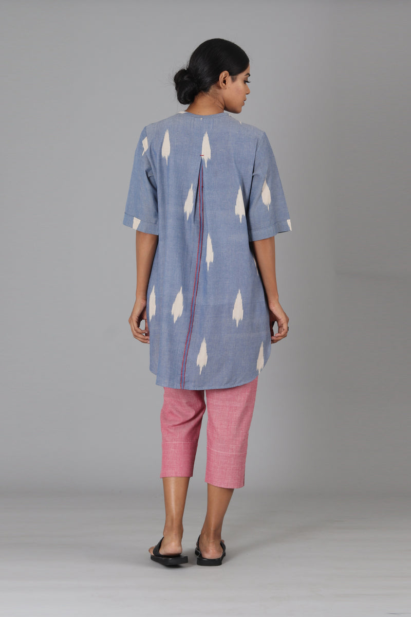 Blue Leaf Tunic Top