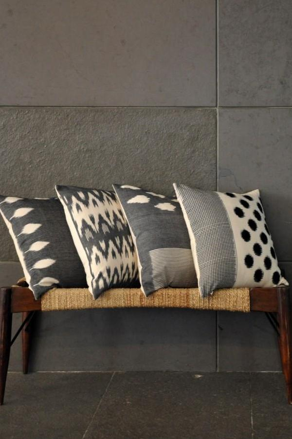 Grey White Leaf & Checks Cushion Cover