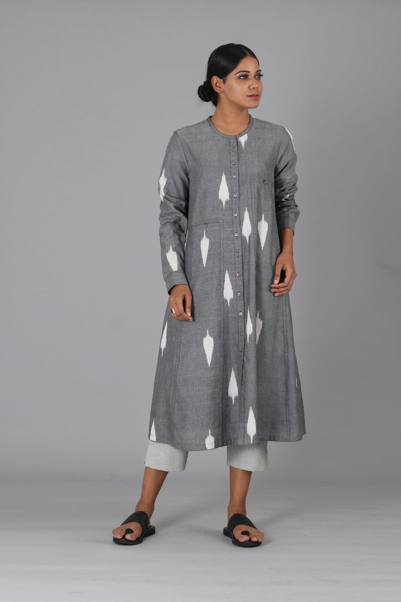 Grey Leaf Button Down Kurta