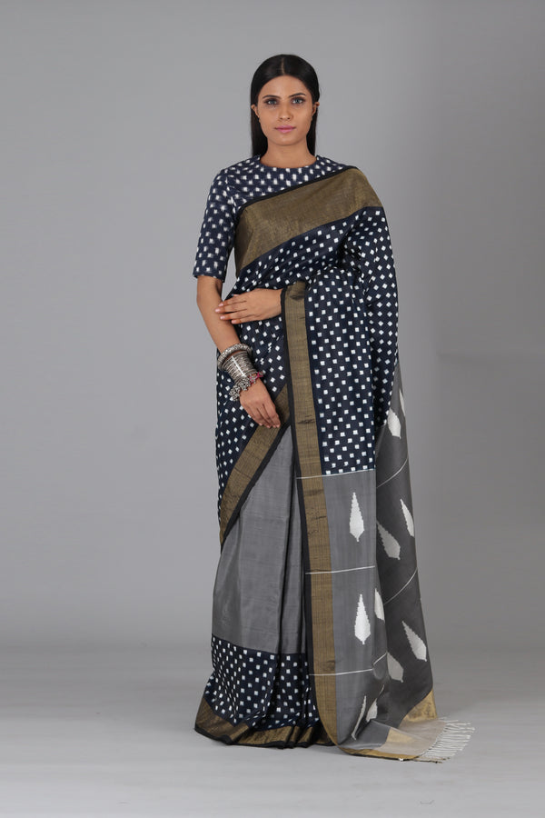 Indigo Black Box Silk Saree