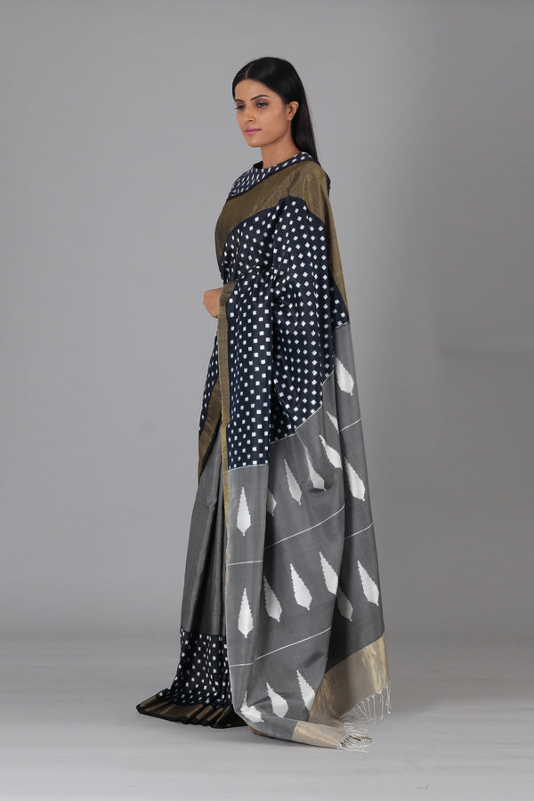 Indigo White Box Silk Saree