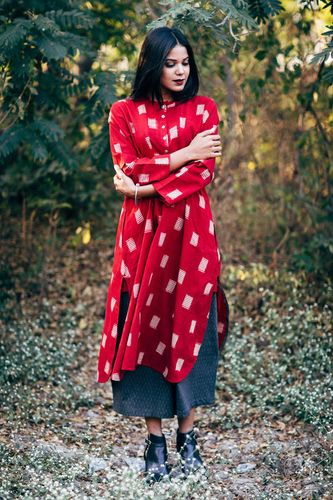 Red & Tea Box Long Kurta