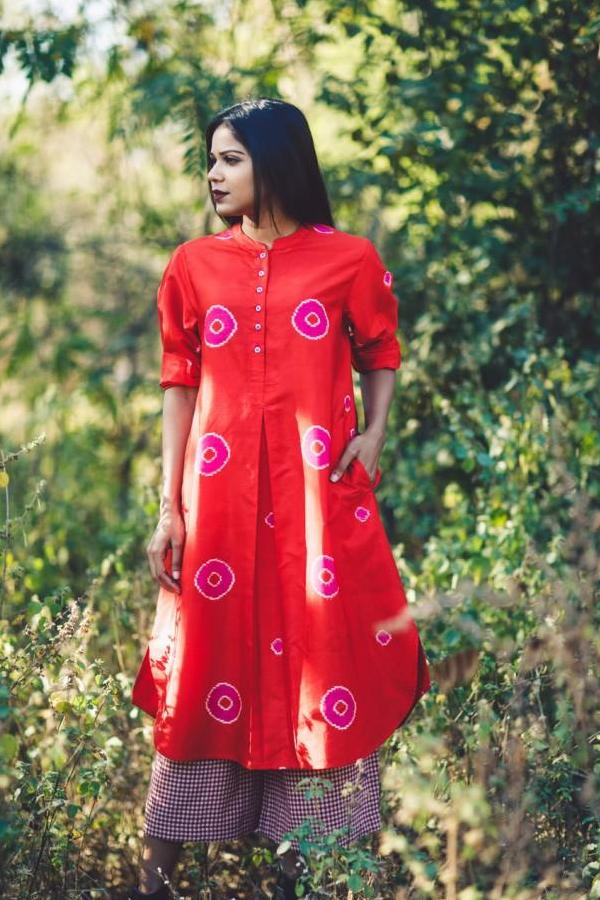 Red With Pink Polka  Long Silk Dress