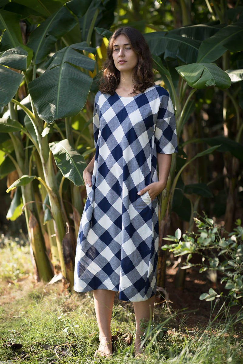 Indigo Shot Checks Long Dress