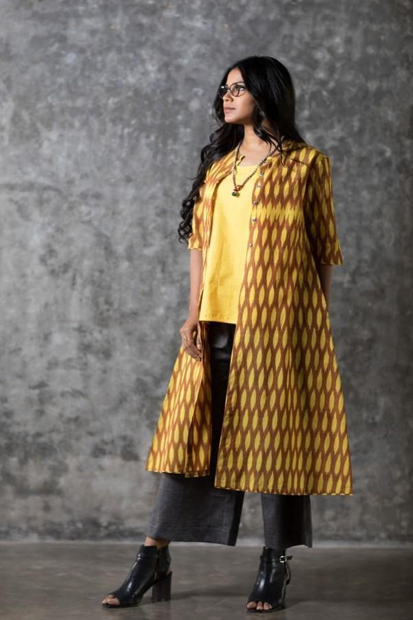 Yellow Oval Open Long Jacket