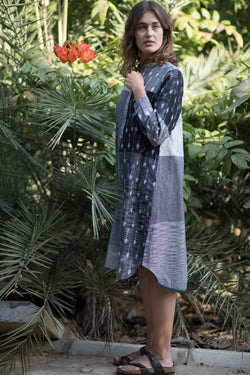 Grey Leaf & Bud Long Dress