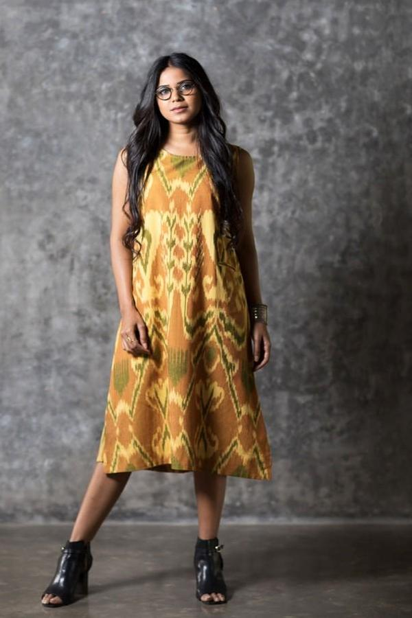 Yellow Uzbek Sleeveless Dress