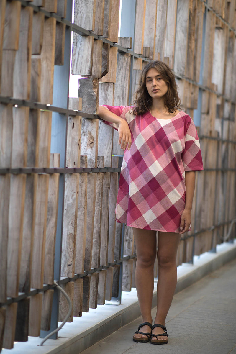 Pink Checks Short Dress
