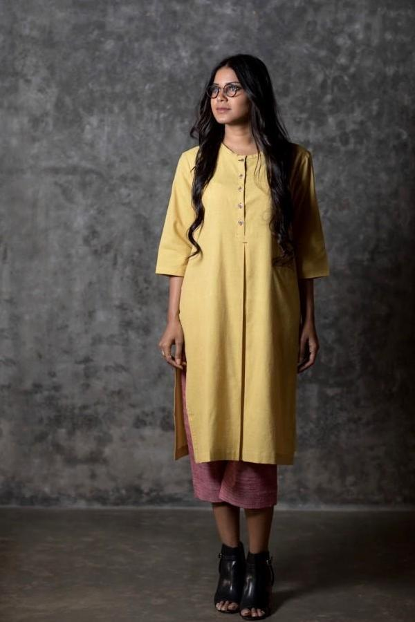 Yellow Kismis Slit Kurta