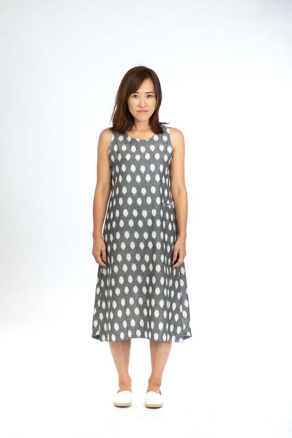 Grey Polka Sleeveless Dress