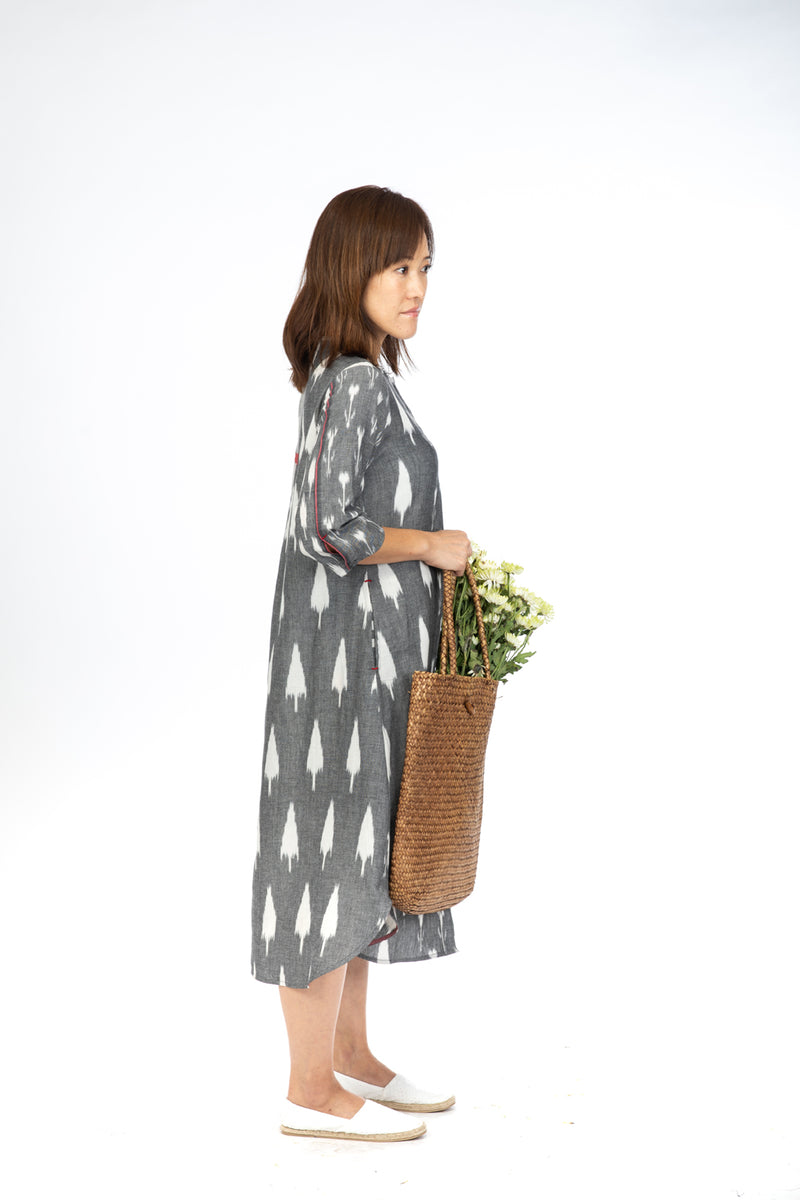 Grey Flora Open Long Dress