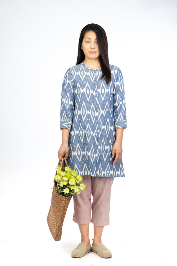 Blue Peony Long Tunic Top
