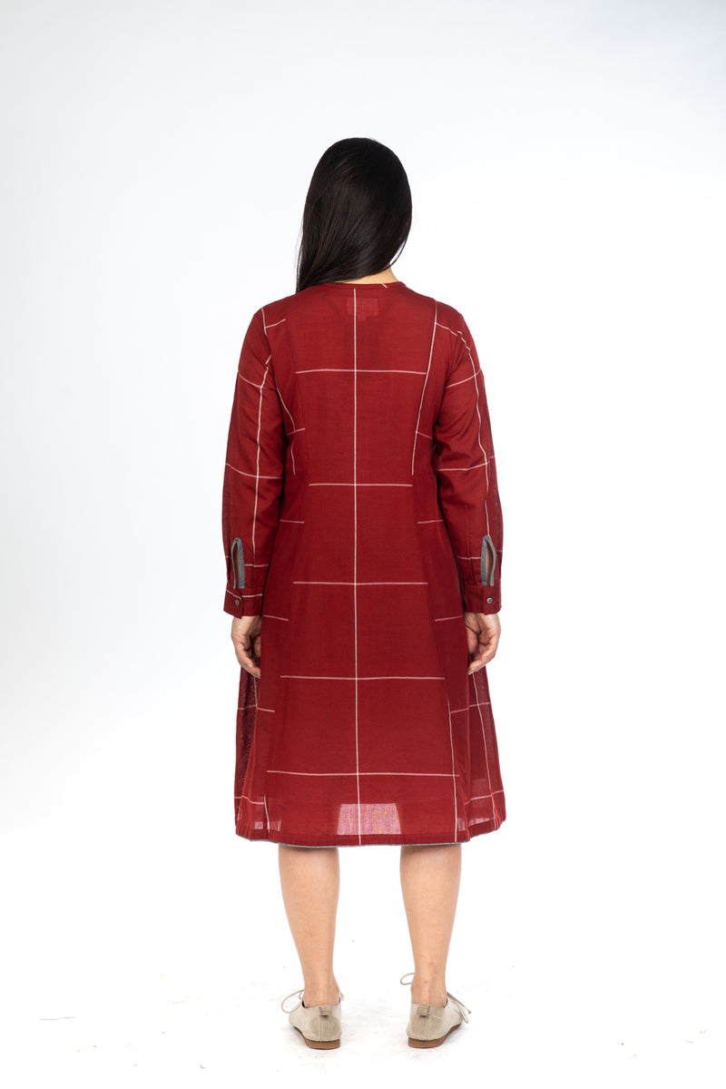 Red Checks Button Down Dress