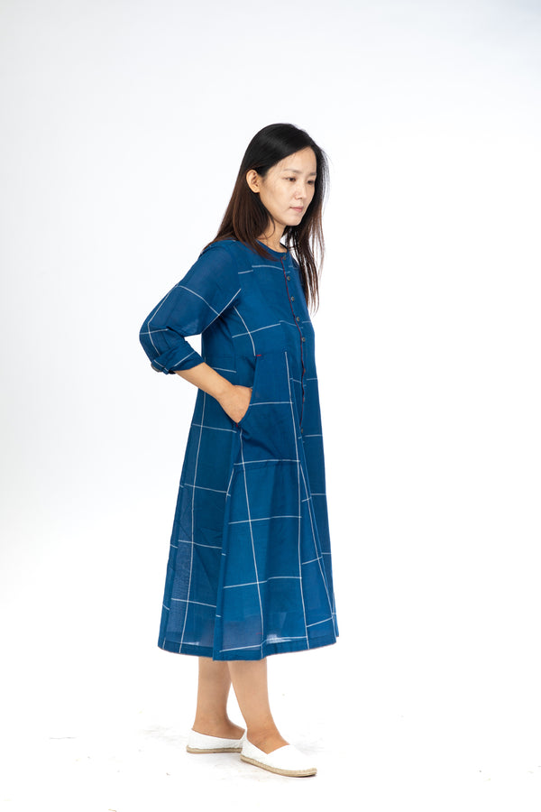 Blue Checks Button Down  Dress