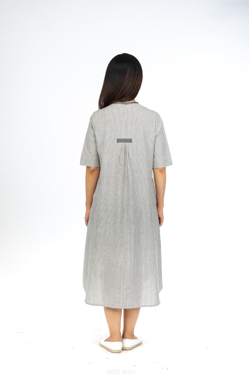 Grey Chambray Stripes Open Long Dress